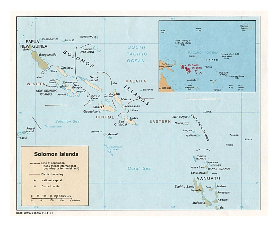 Detailed political and administrative map of Solomon Islands with large cities - 1981