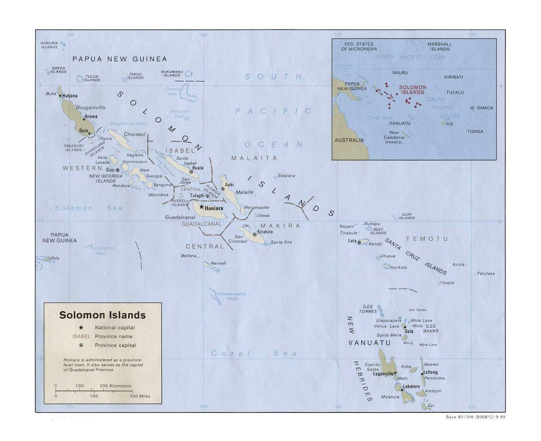 Detailed political and administrative map of Solomon Islands with large cities - 1989