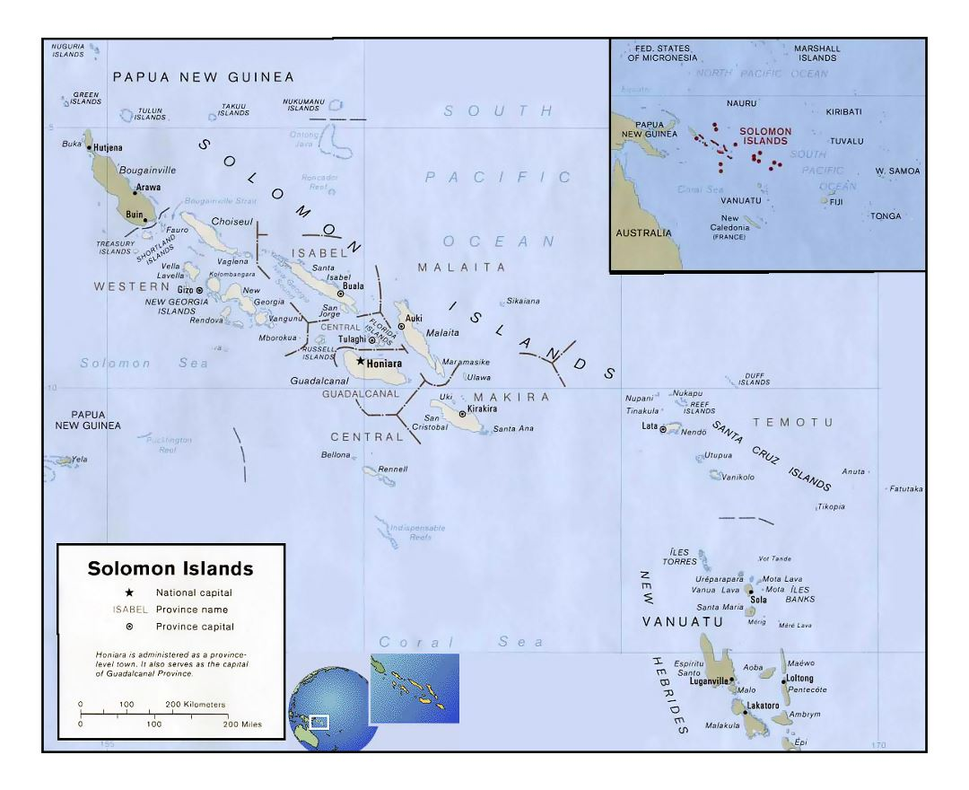 Detailed political and administrative map of Solomon Islands with large cities