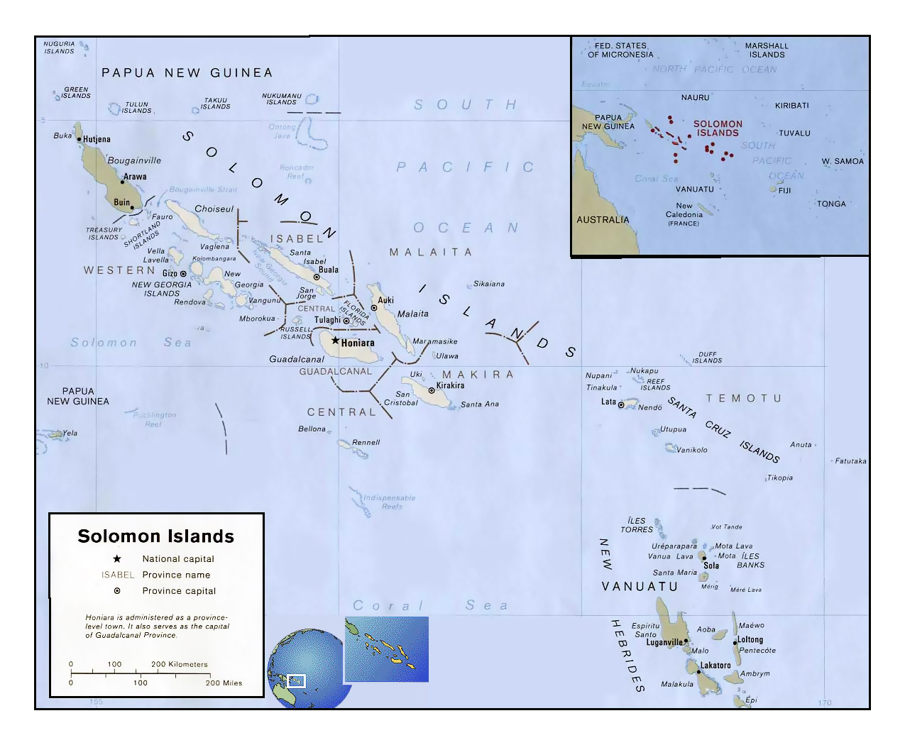 Detailed political and administrative map of Solomon Islands