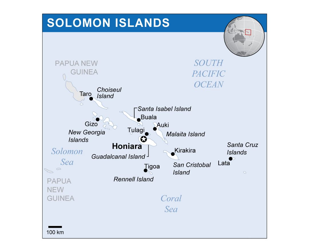 Detailed political map of Solomon Islands with island names