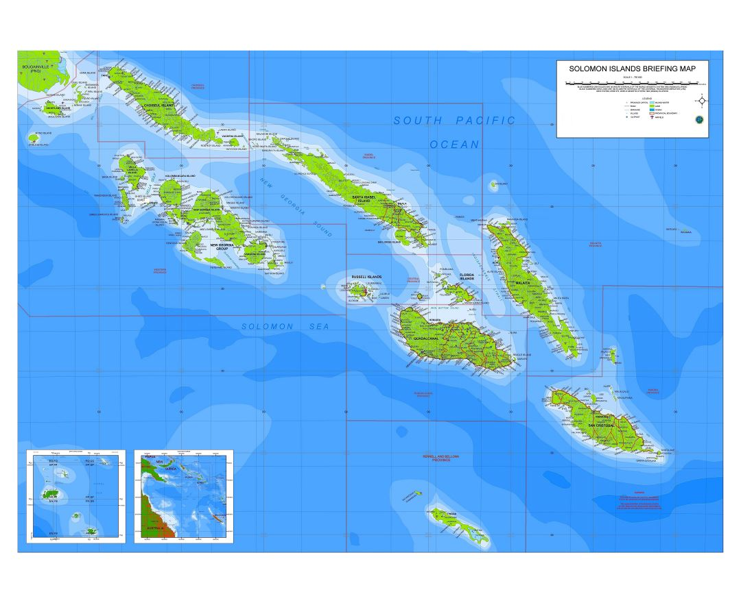 Large detailed briefing map of Solomon Islands with airports and other marks