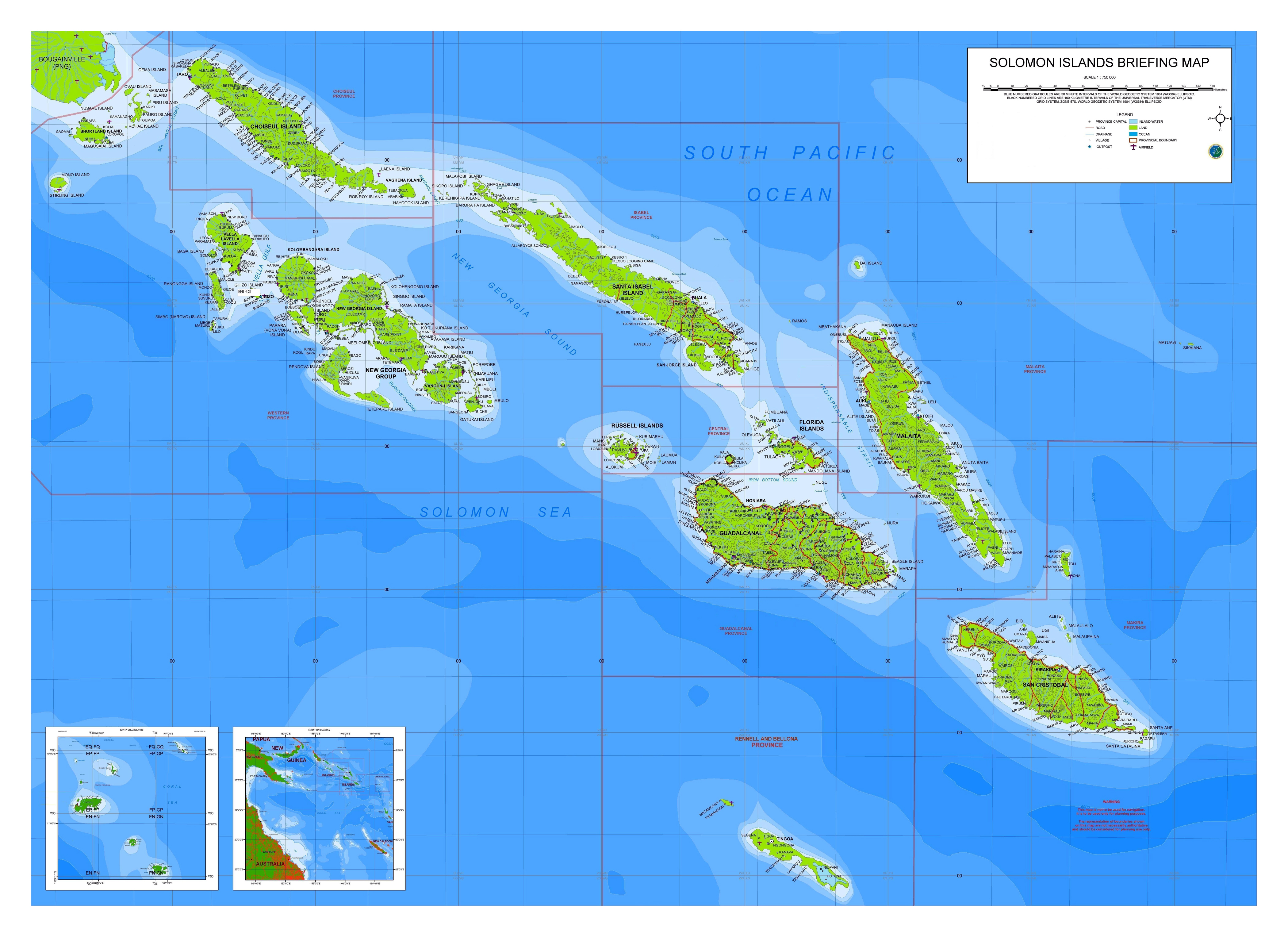 Large detailed briefing map of Solomon Islands with airports