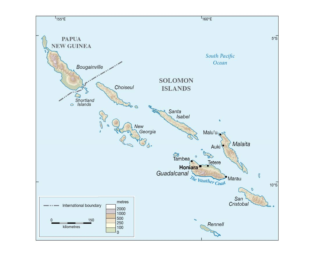 Large detailed elevation map of Solomon Islands