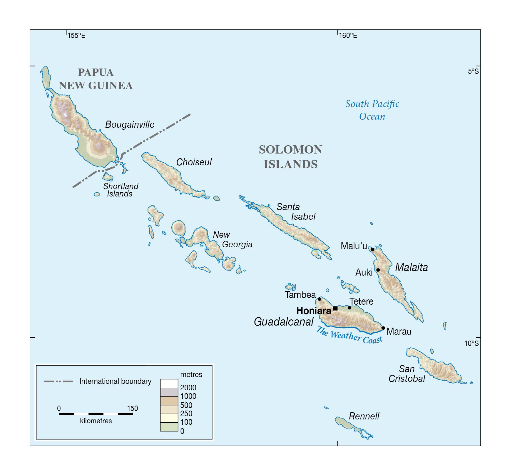 Large detailed elevation map of Solomon Islands Solomon Islands