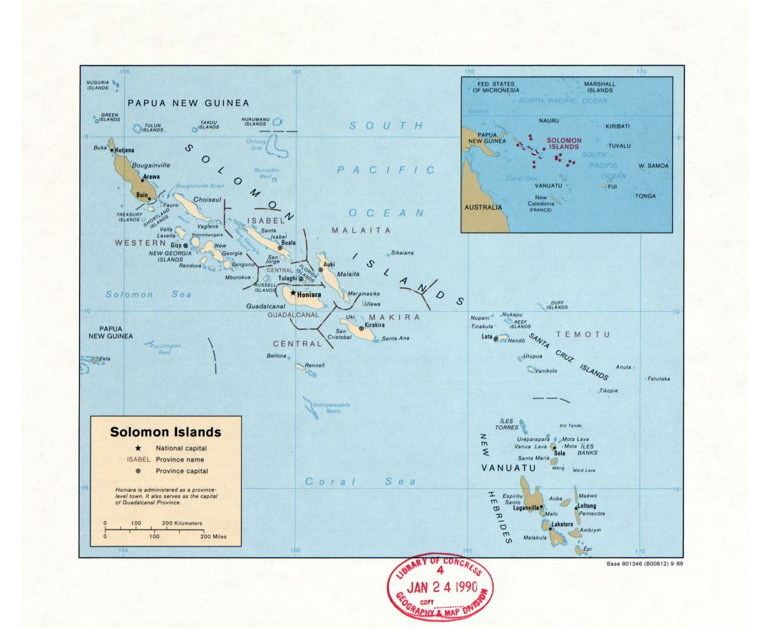 Large detailed political and administrative map of Solomon Islands with large cities - 1989