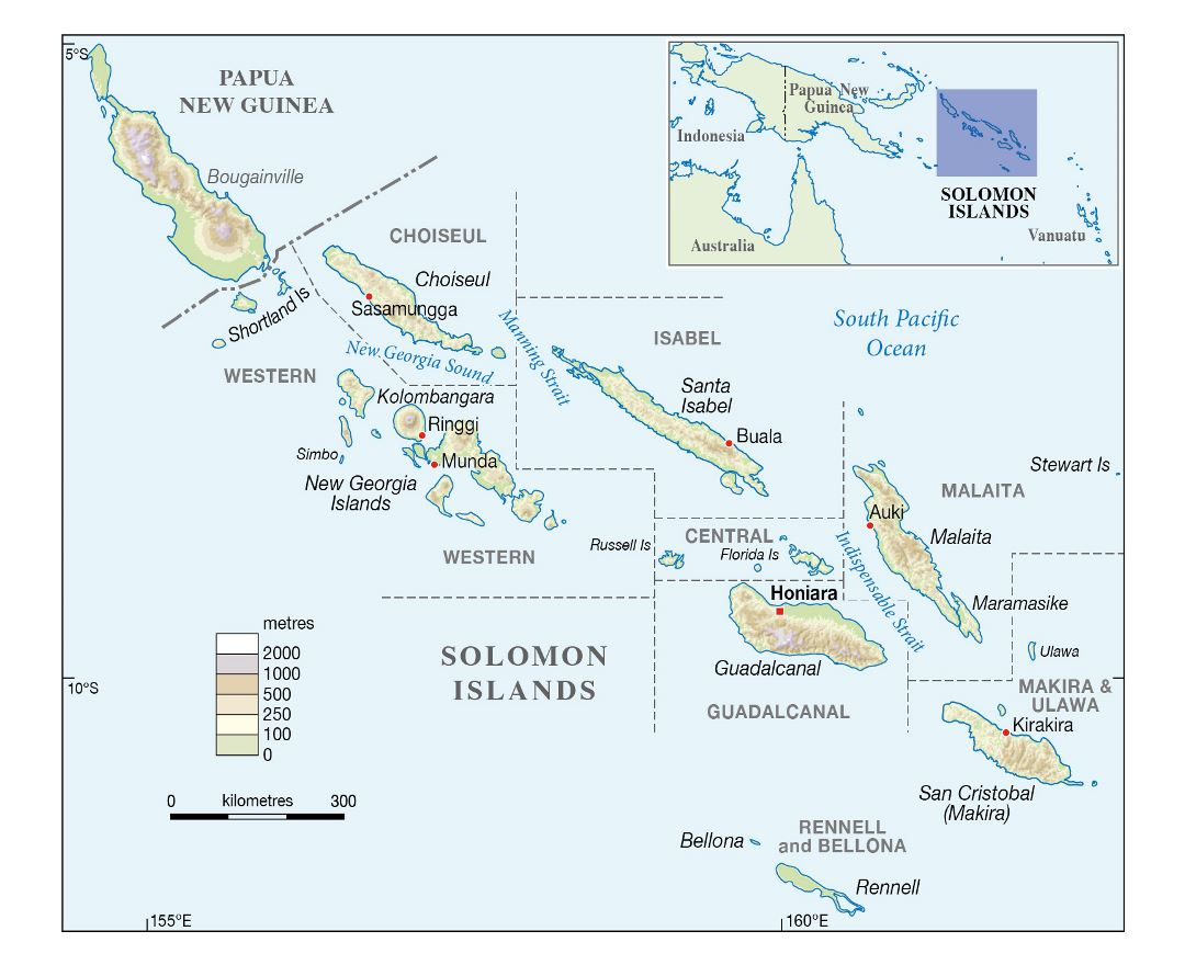 Large elevation map of Solomon Islands with large cities