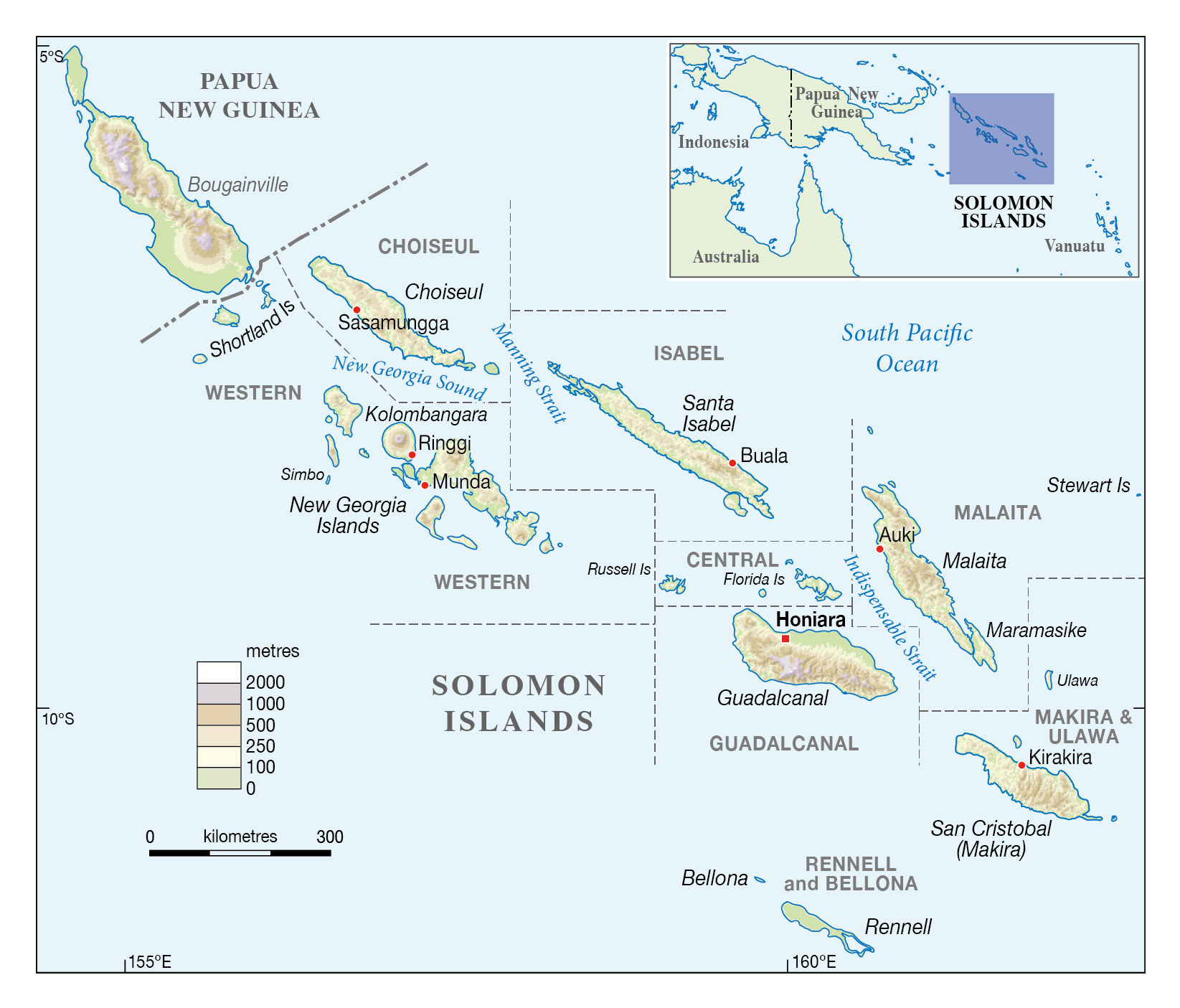 Large elevation map of Solomon Islands with large cities Solomon