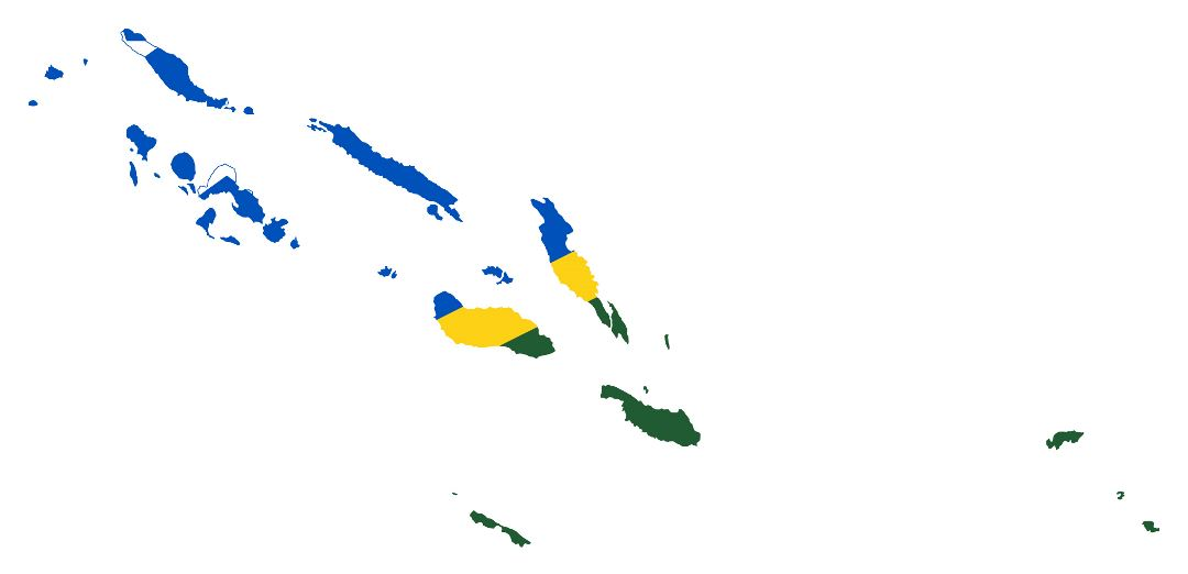 Large flag map of Solomon Islands