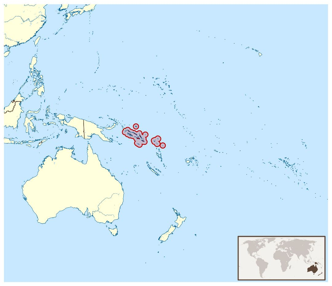 Large location map of Solomon Islands