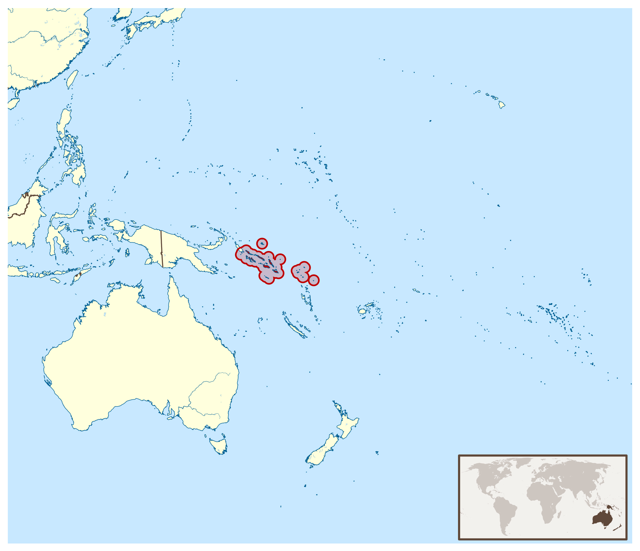 Large location map of Solomon Islands | Solomon Islands