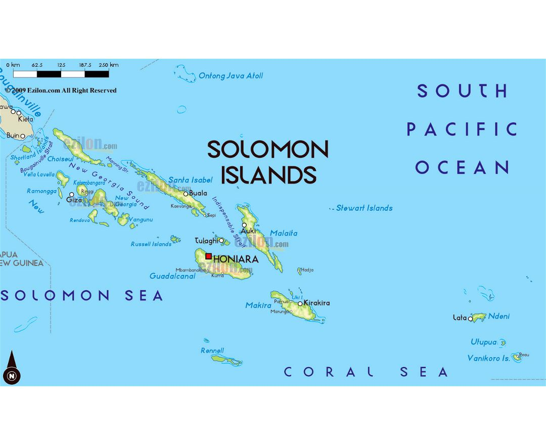 Large physical map of Solomon Islands with large cities