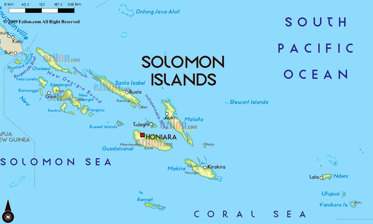 Large physical map of Solomon Islands with large cities Solomon