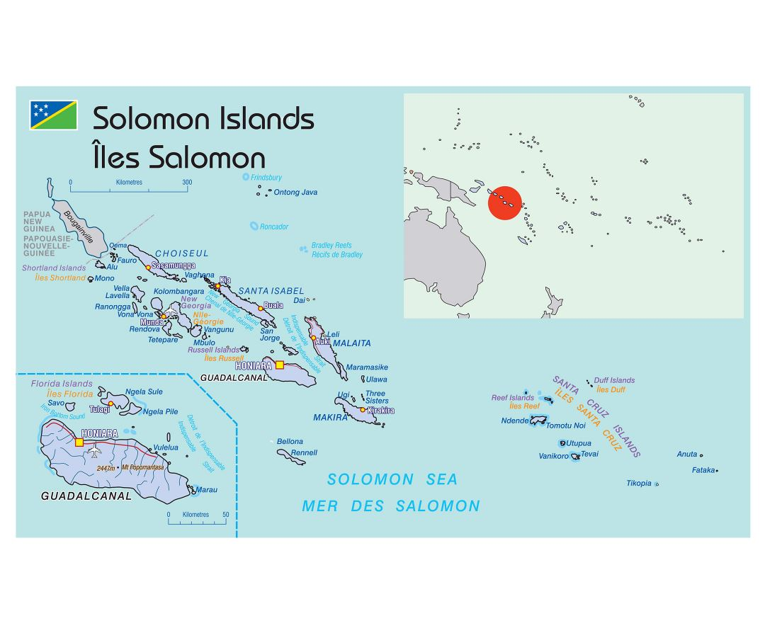 Large political map of Solomon Islands with cities and airports