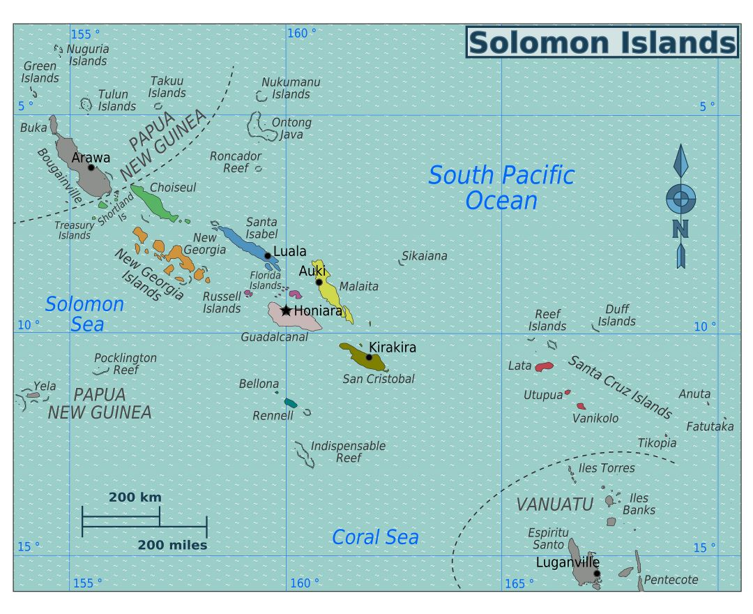Large regions map of Solomon Islands