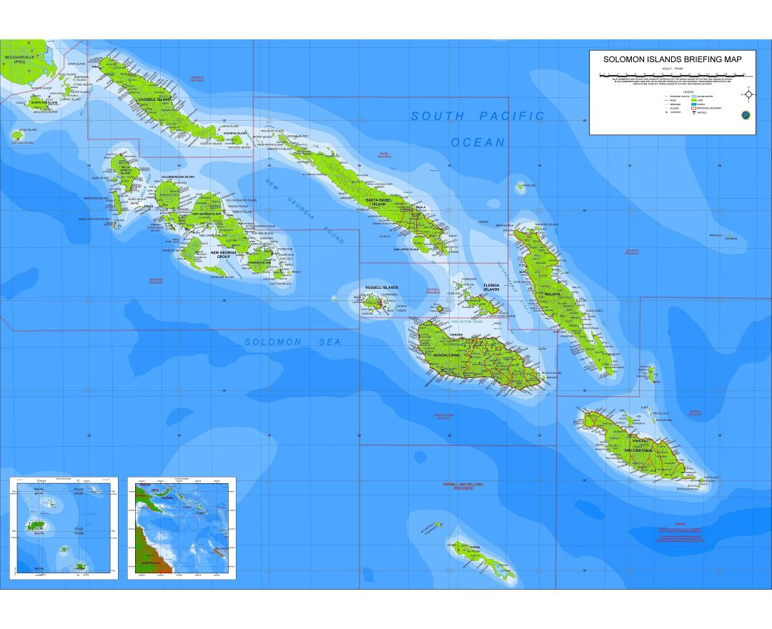 Large scale briefing map of Solomon Islands with other marks