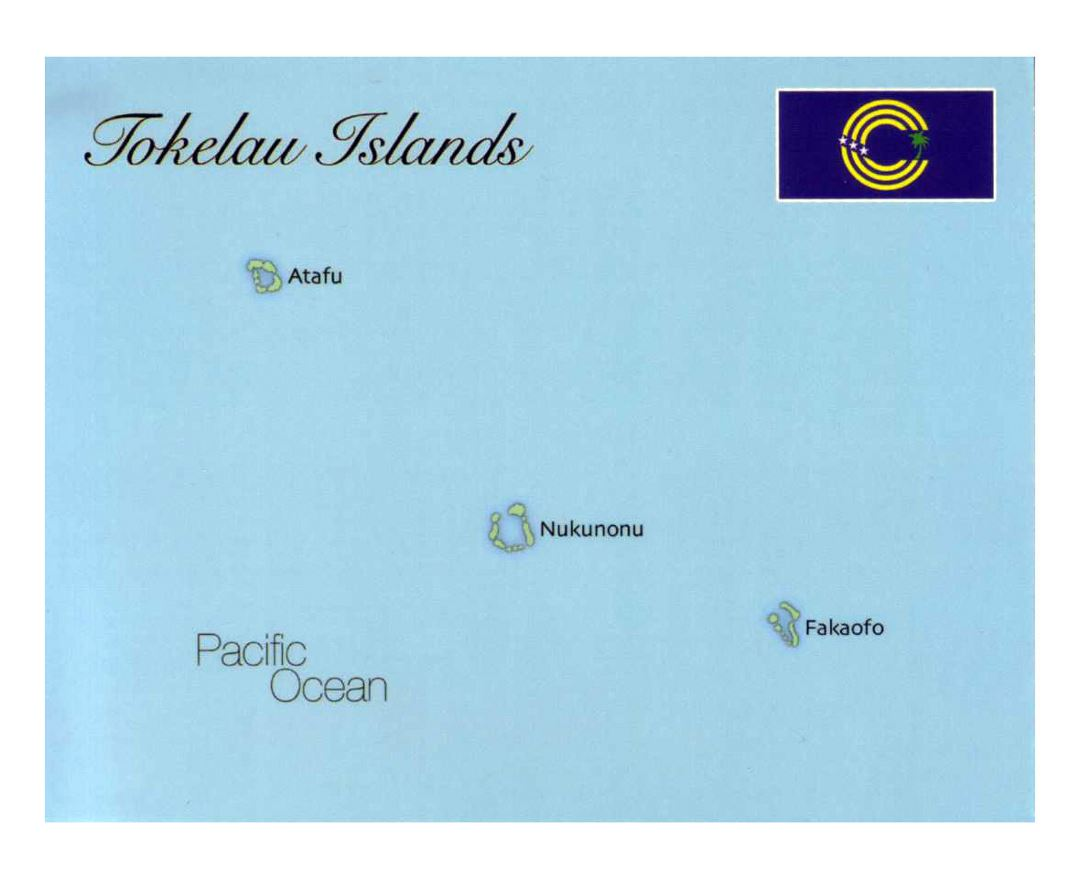 Detailed map of Tokelau with flag