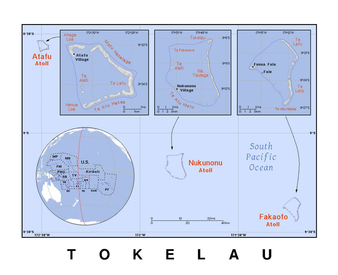 Detailed political map of Tokelau with relief