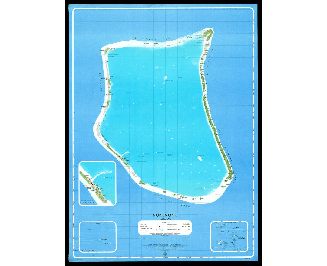 Large scale topographical map of Nukunonu Atoll, Tokelau
