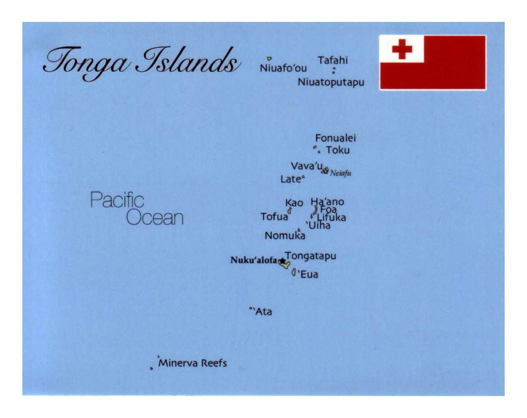 Detailed map of Tonga Islands with flag