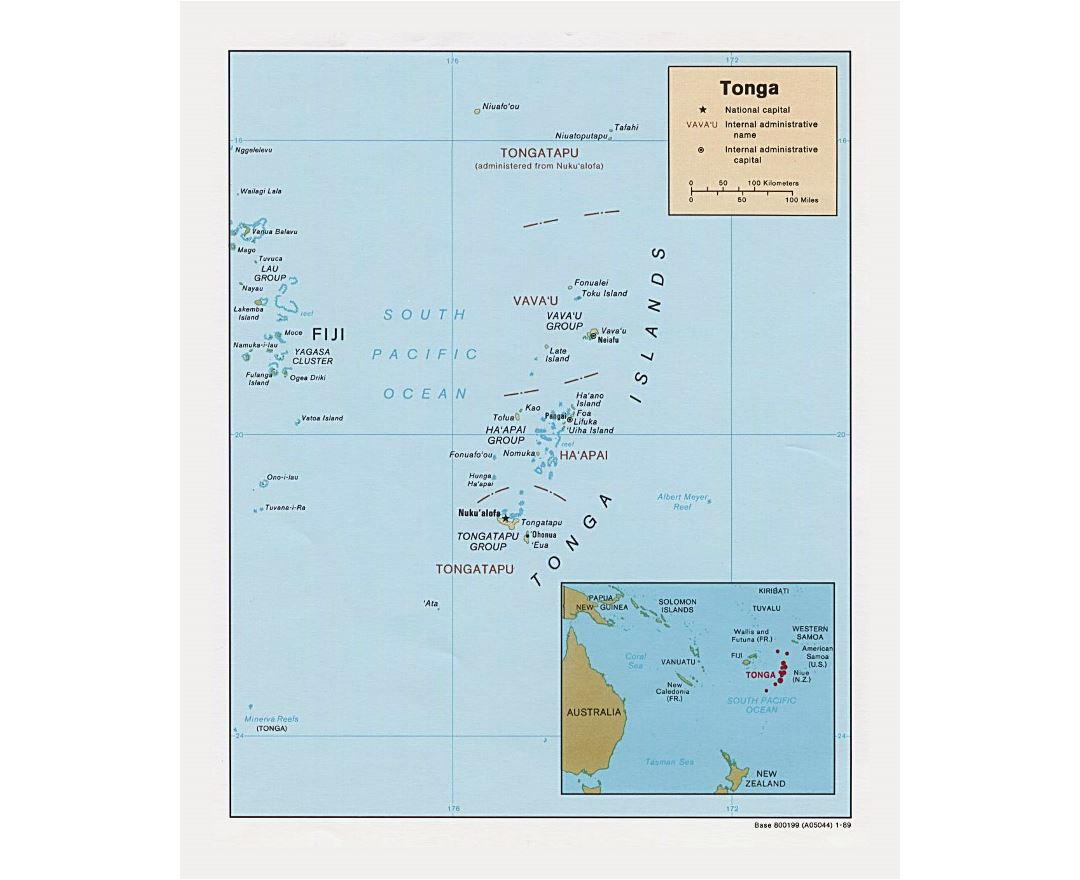 Maps of tonga detailed map of tonga in english tourist map detailed political and administrative map of tonga 1989 publicscrutiny Image collections