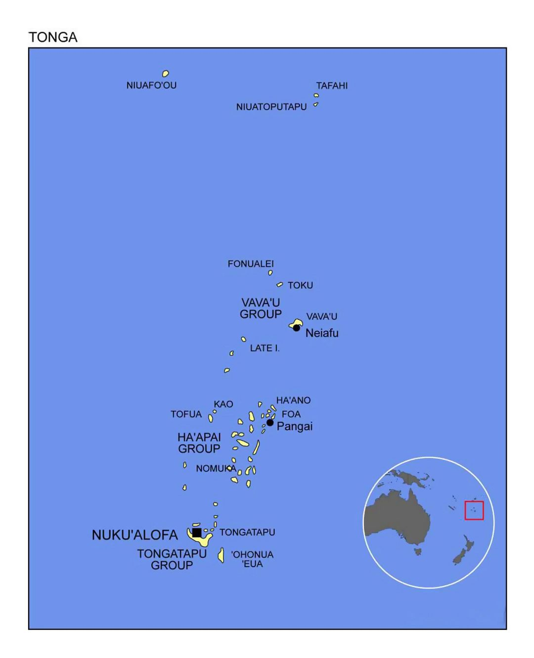 Image of: Detailed Political Map Of Tonga With Location Map Tonga Oceania Mapsland Maps Of The World