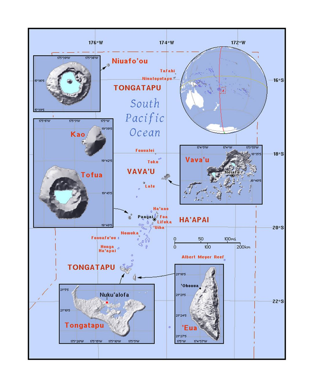 Detailed political map of Tonga with relief