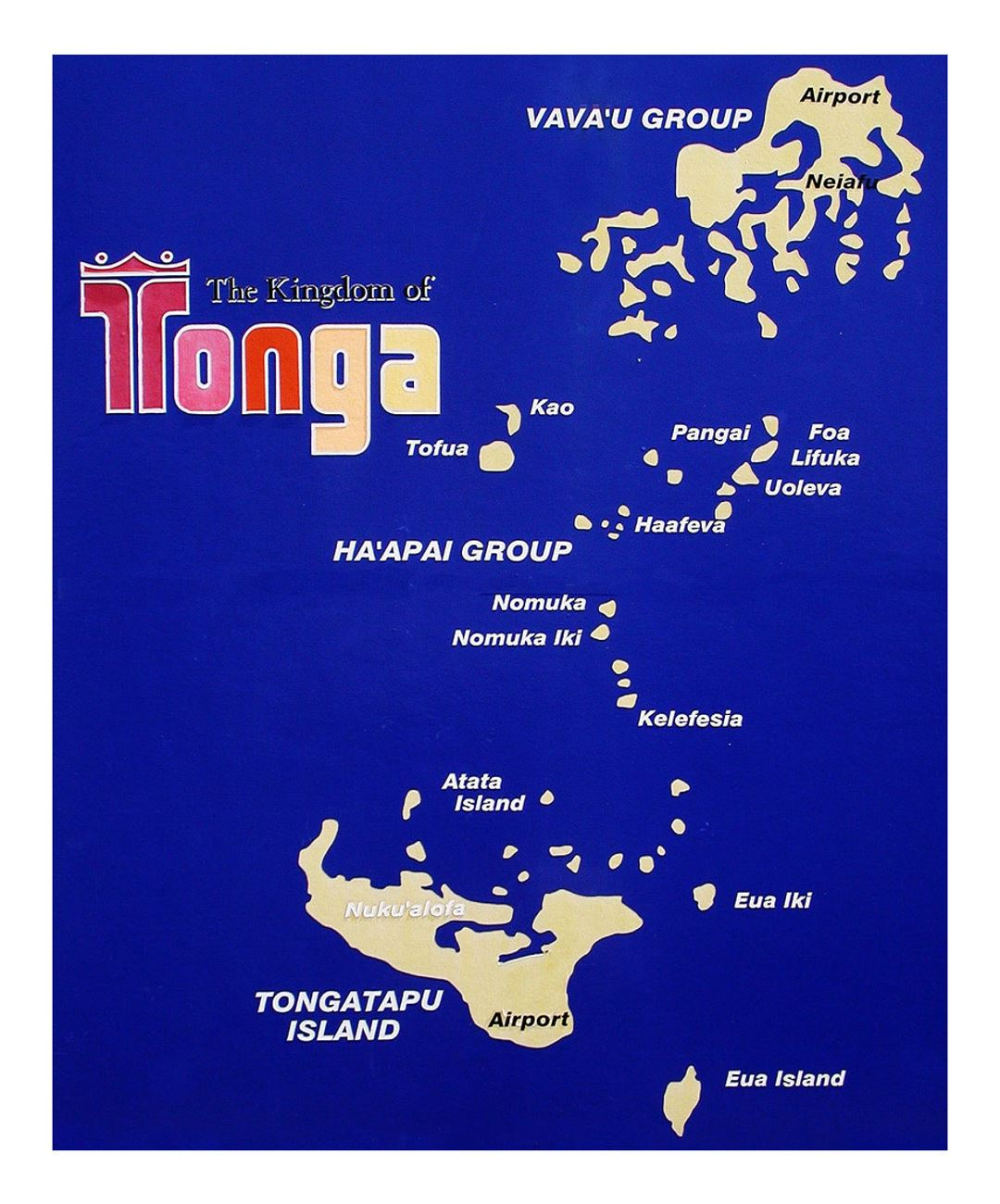 Detailed travel map of Tonga