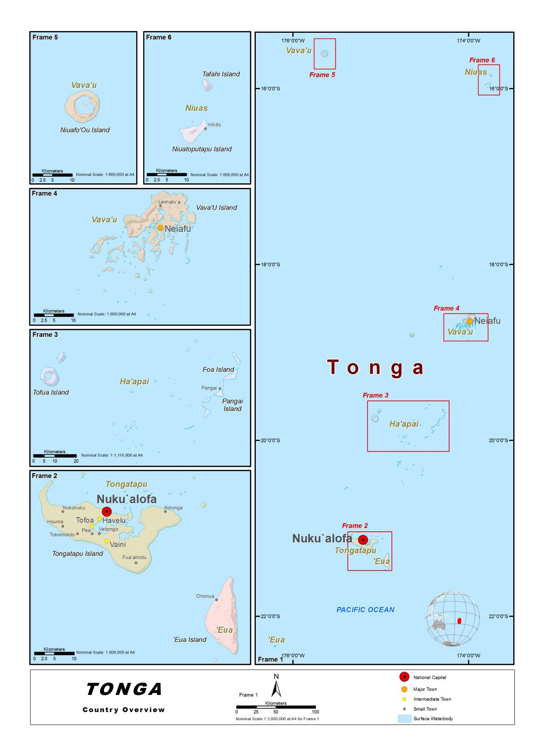 Large detailed map of Tonga with relief, cities, villages and other marks