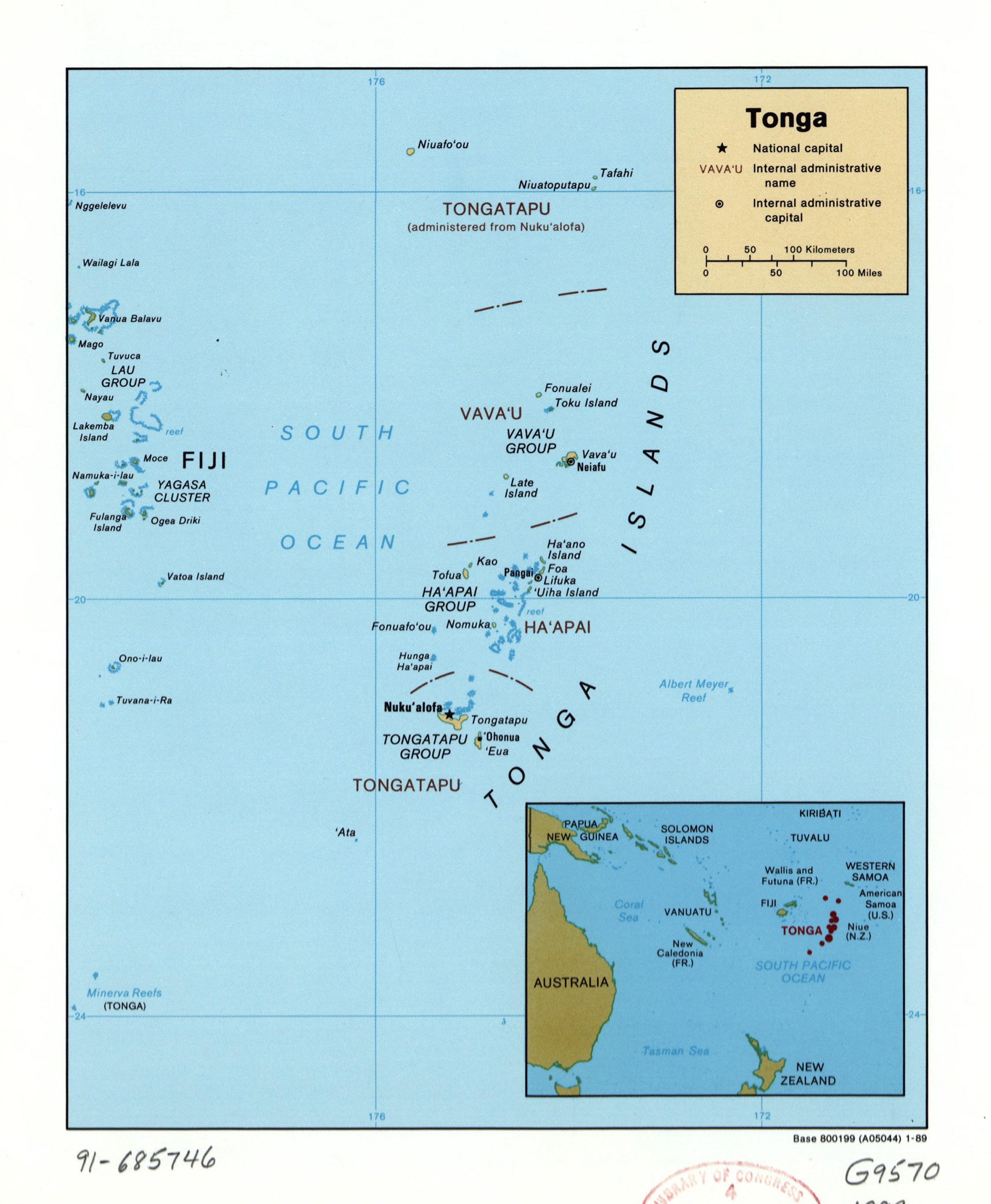 Large detailed political and administrative map of Tonga with large