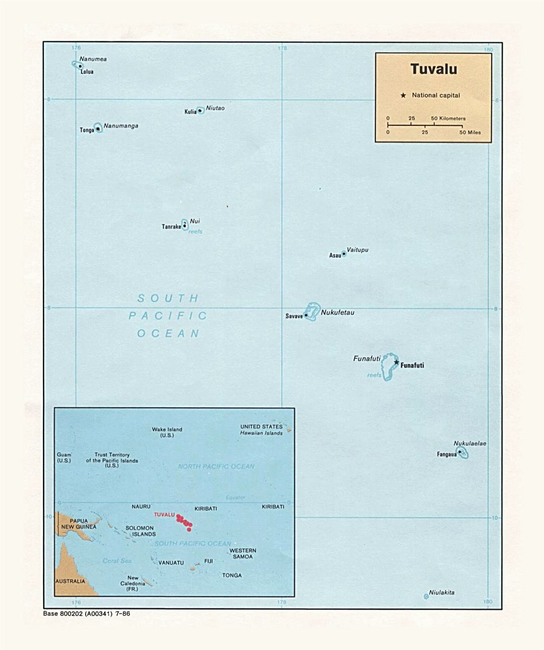 Detailed political map of Tuvalu with cities and island names - 1986