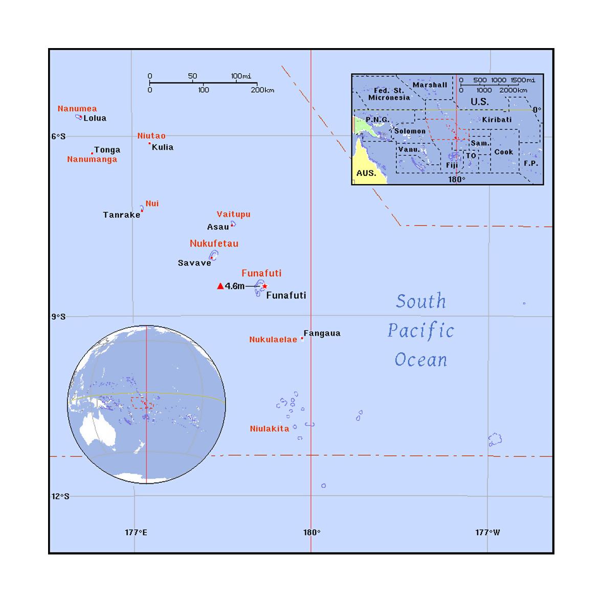 Detailed political map of Tuvalu Tuvalu Oceania Mapsland