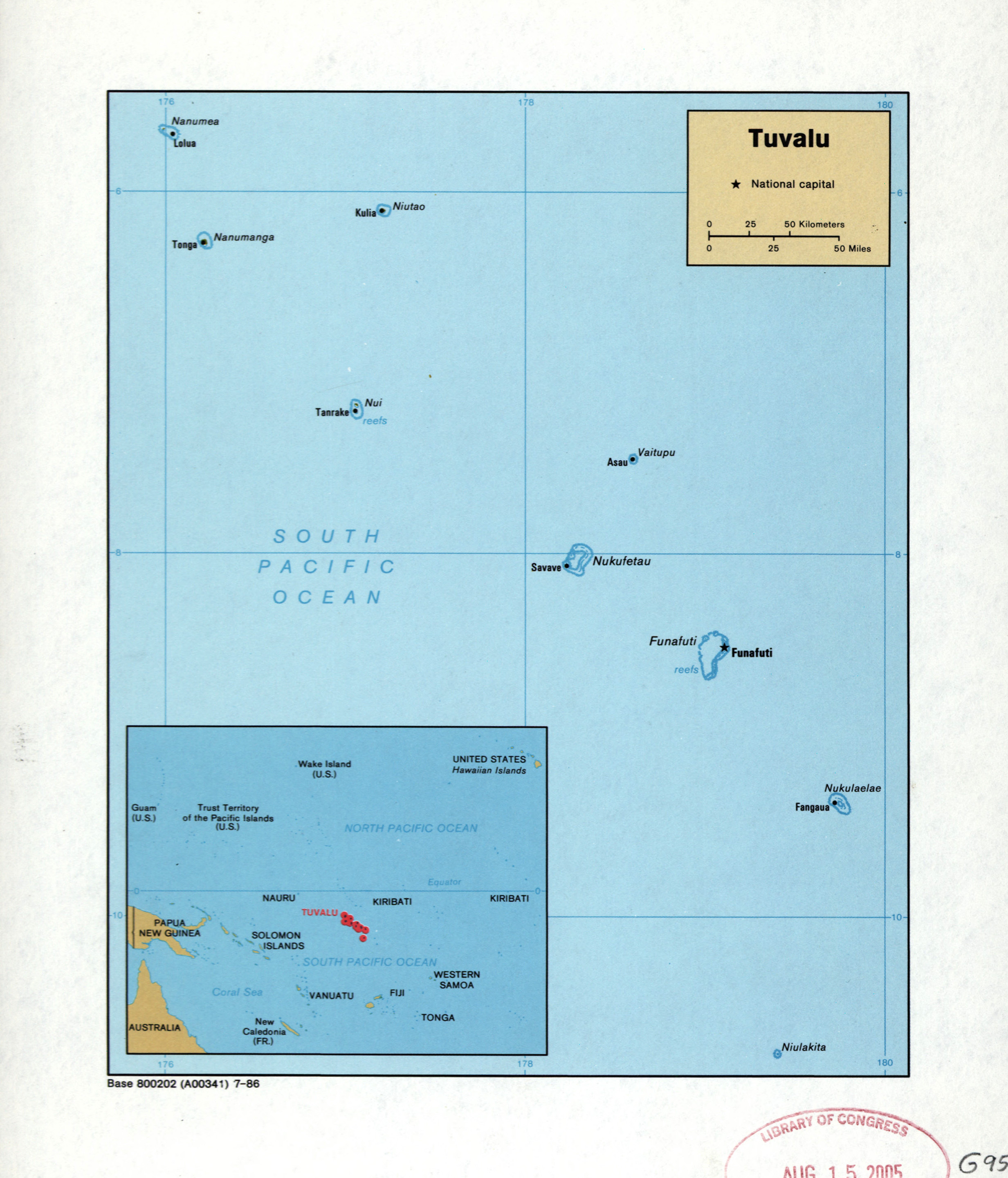 Large detailed political map of Tuvalu with cities and island names