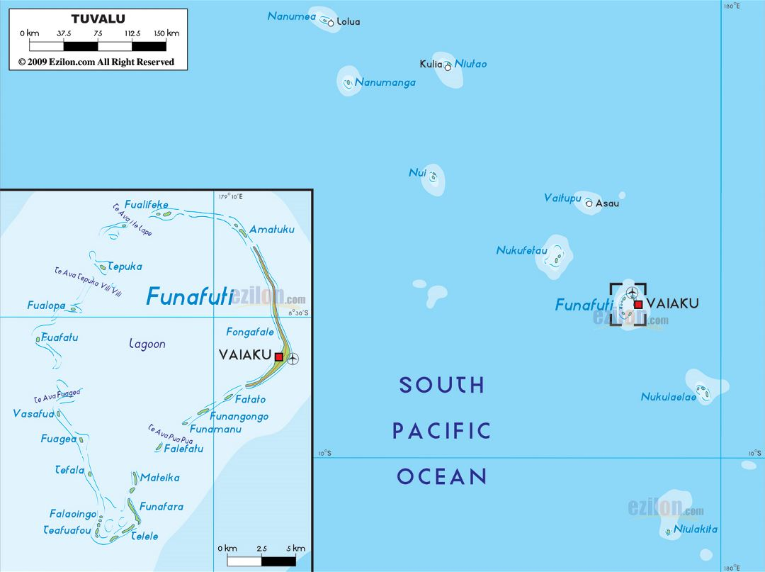 Large physical map of Tuvalu with cities and airport