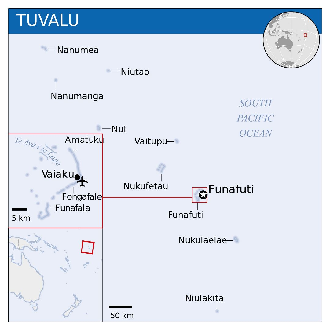Large political map of Tuvalu with island names and airport