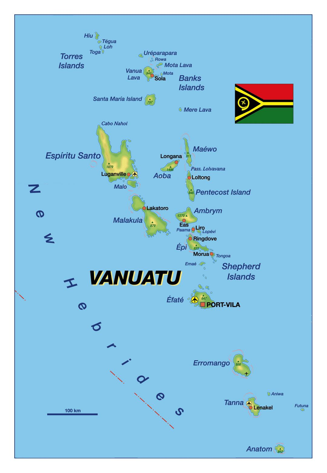 Detailed elevation map of Vanuatu with major cities and airports