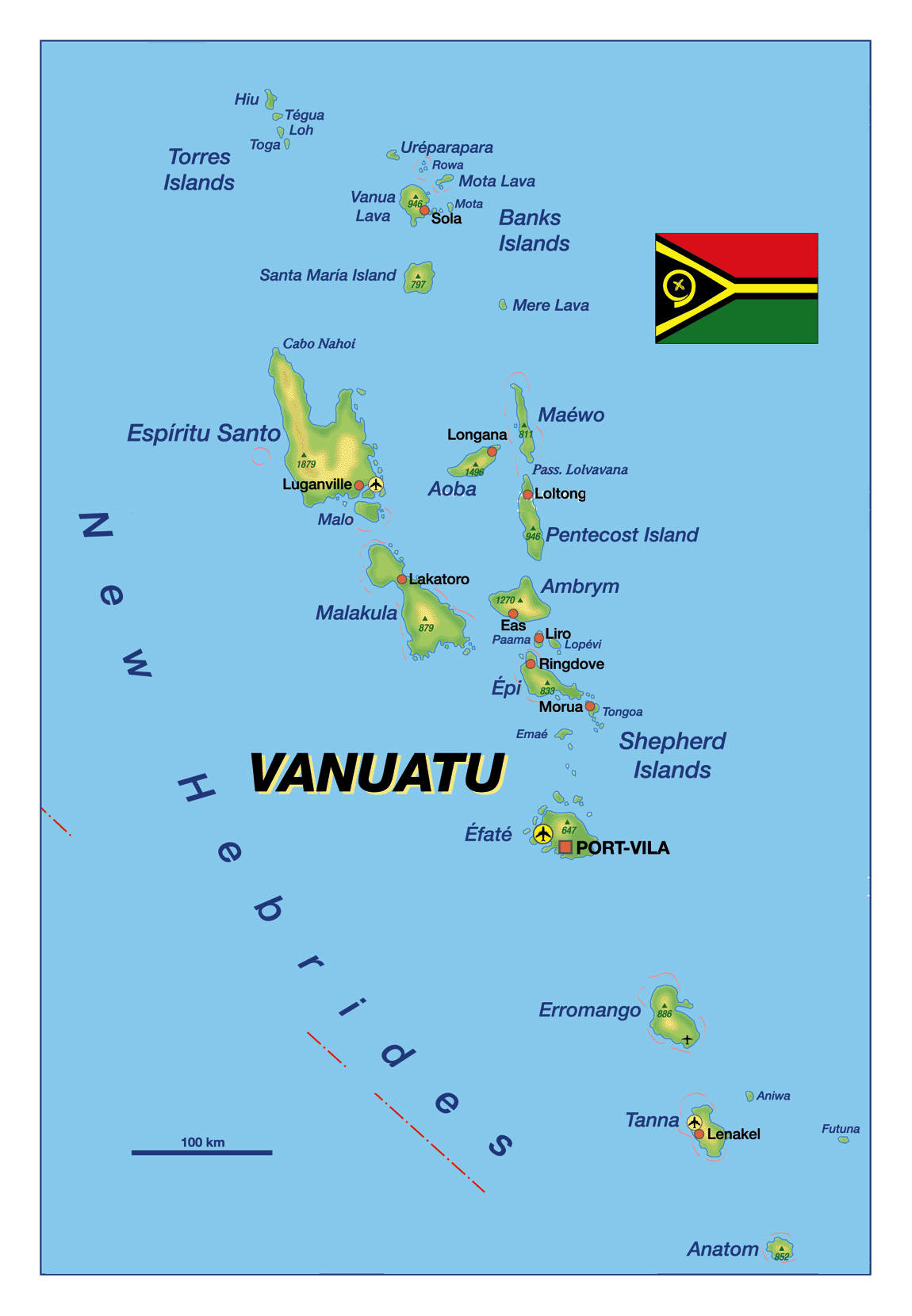 Map Of Vanuatu Detailed elevation map of Vanuatu with major cities and airports