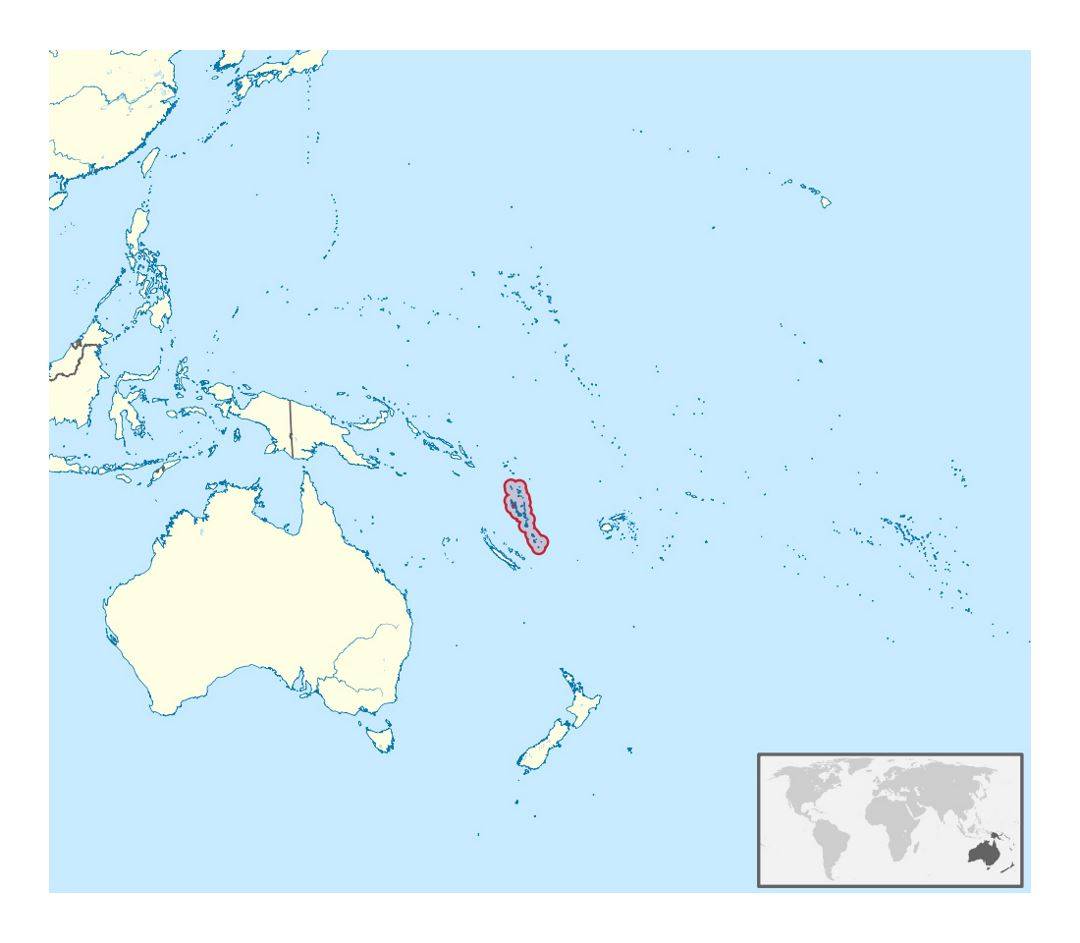 Detailed location map of Vanuatu