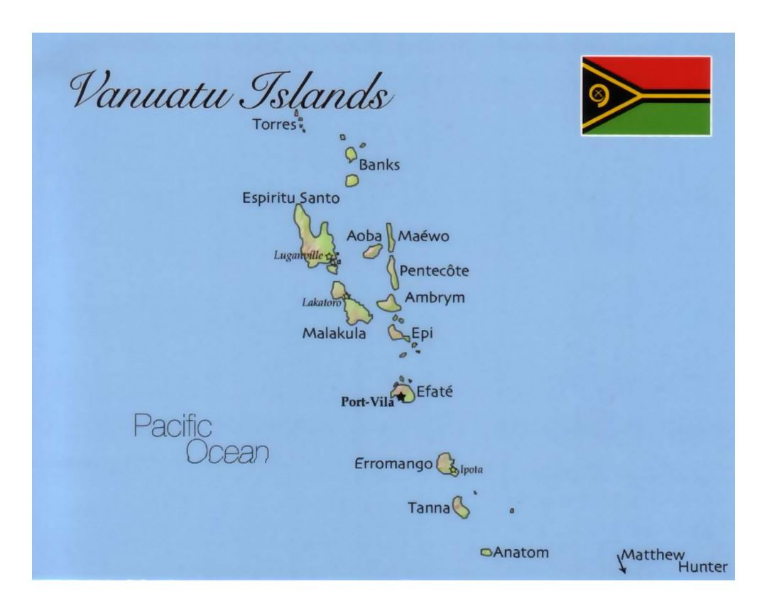 Detailed map of Vanuatu with flag