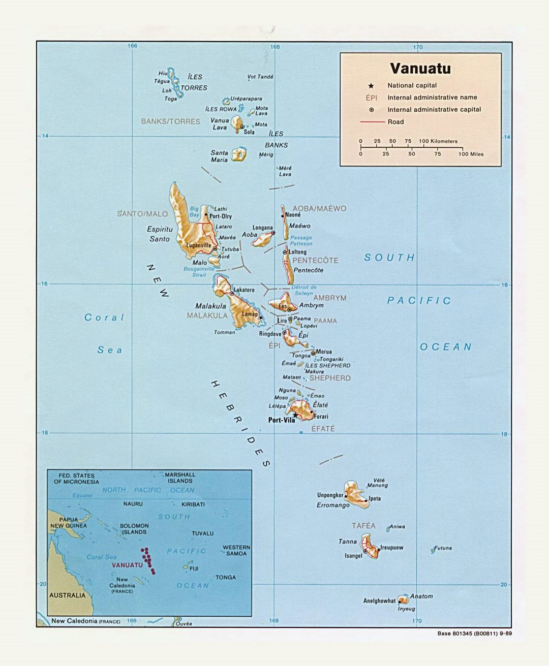 Detailed political and administrative map of Vanuatu with relief, roads and cities - 1989