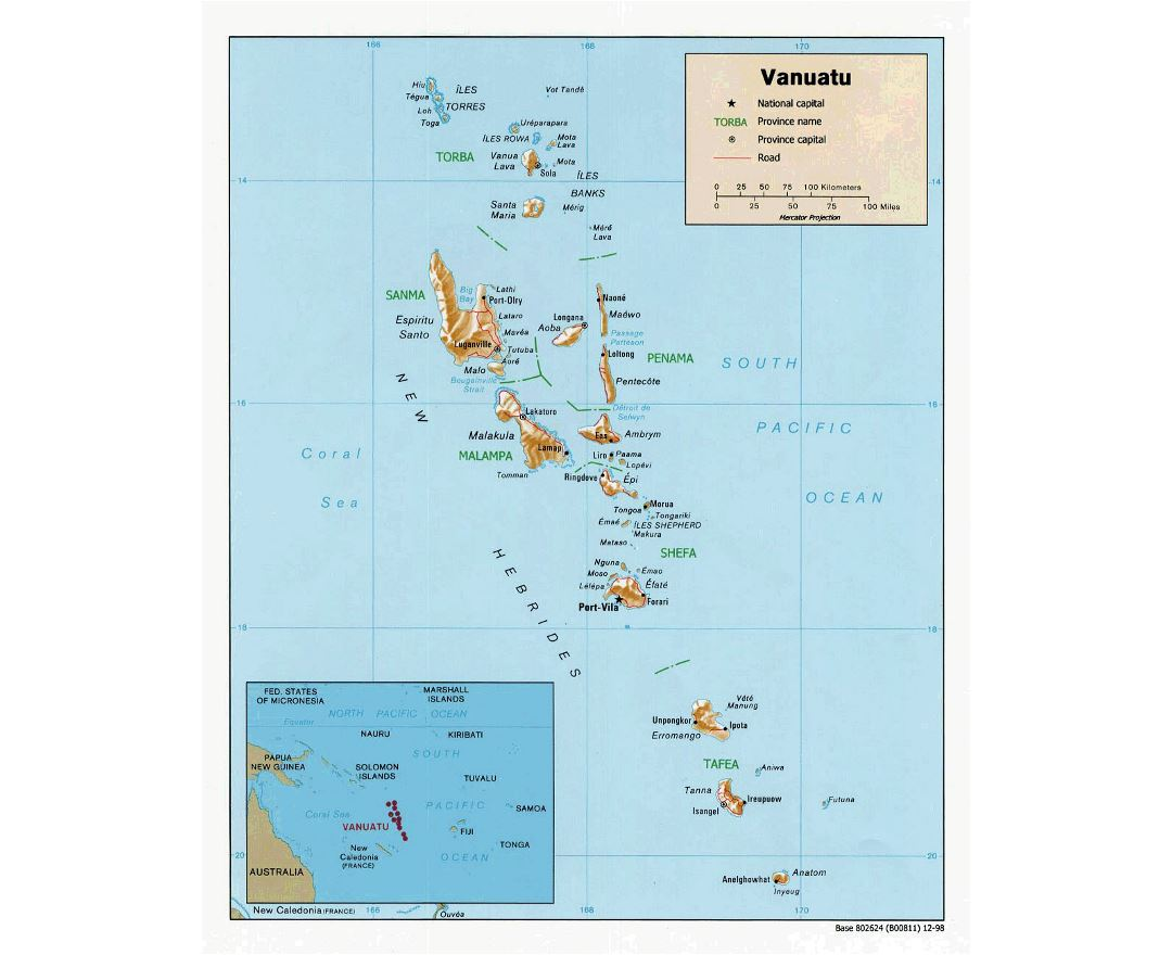 Detailed political and administrative map of Vanuatu with relief, roads and cities - 1998