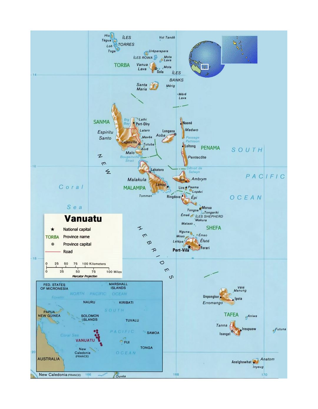 Detailed political and administrative map of Vanuatu with relief, roads and cities
