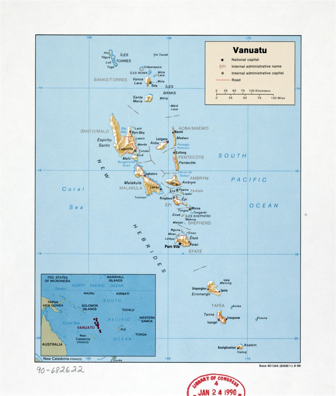 Large detailed political and administrative map of Vanuatu with relief, roads, cities and island names - 1989