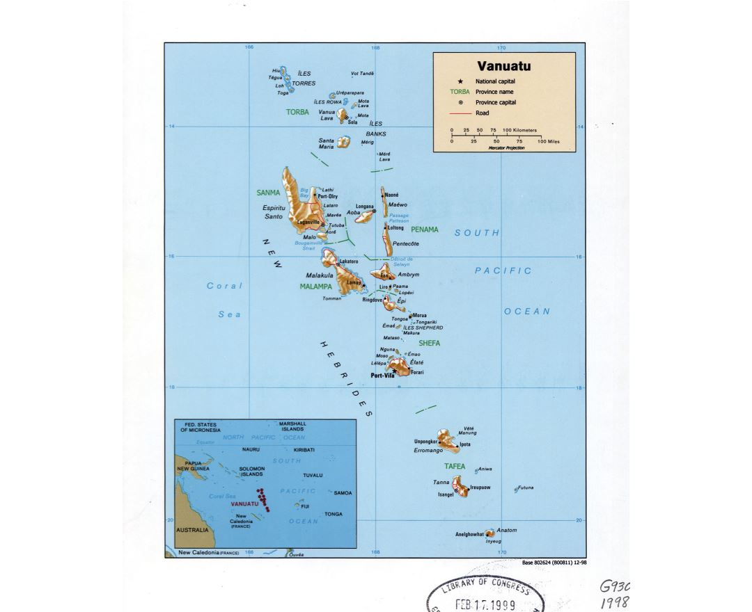 Large detailed political and administrative map of Vanuatu with relief, roads, cities and island names - 1998