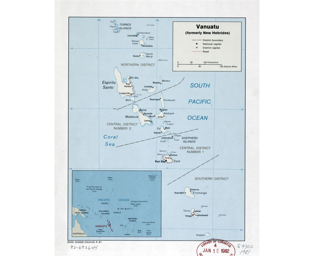 Large detailed political and administrative map of Vanuatu with roads, cities and island names - 1981