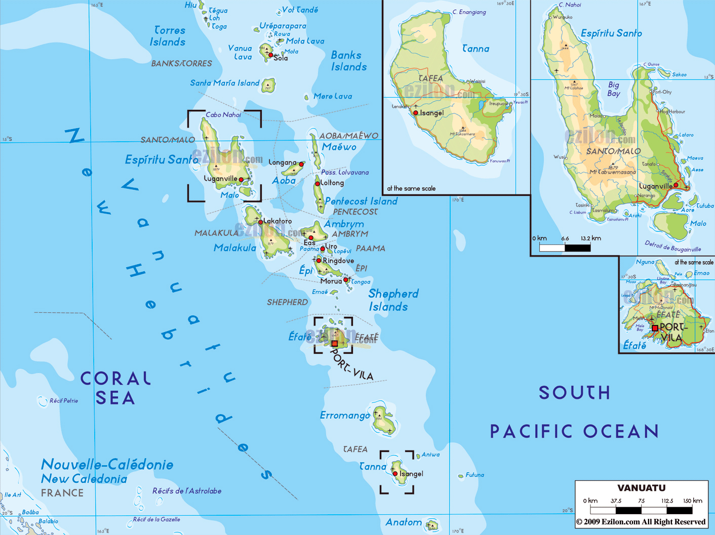 Large physical map of vanuatu with roads cities and airports large physical map of vanuatu with roads cities and airports gumiabroncs Image collections