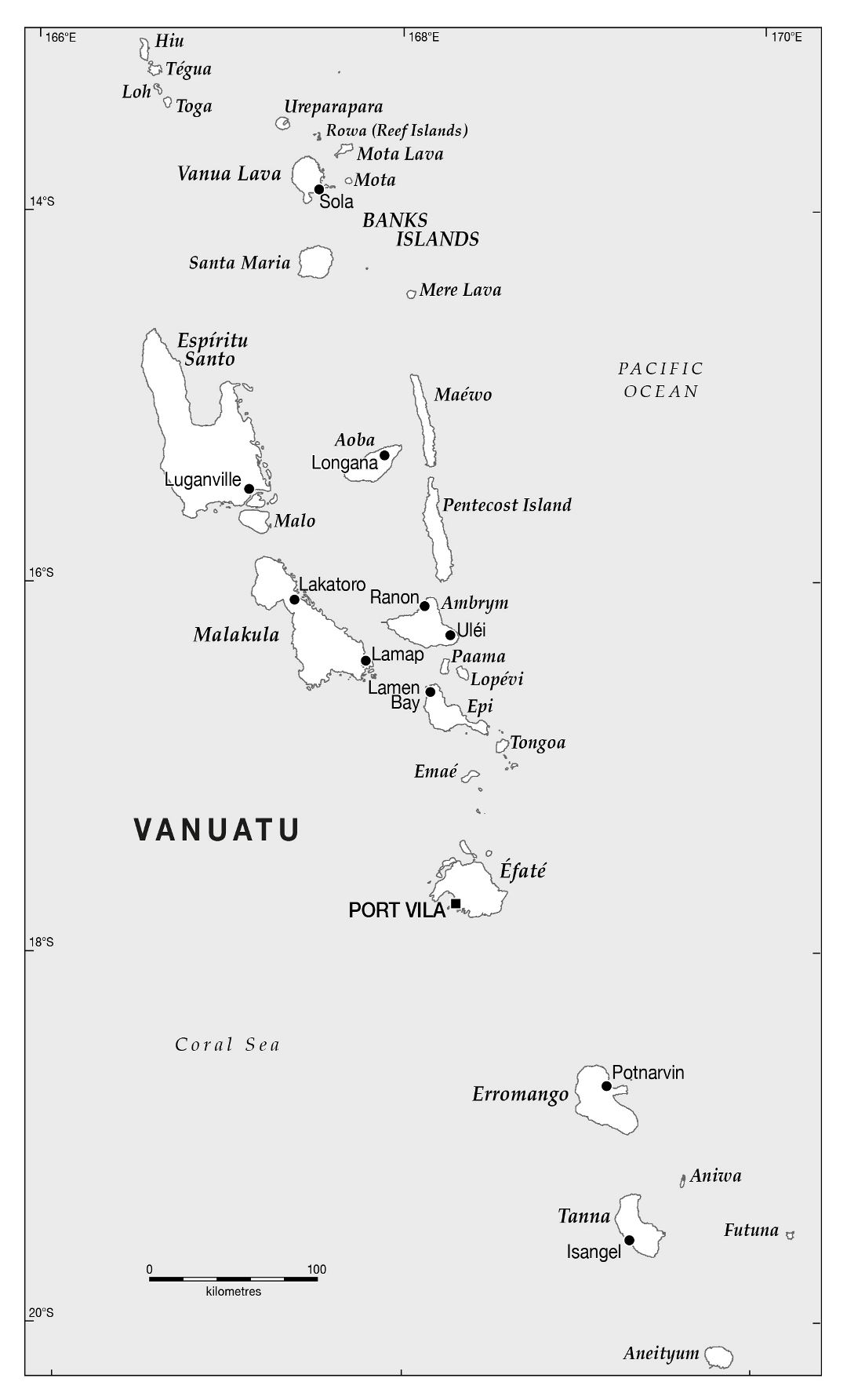 Large political map of Vanuatu with cities and island names