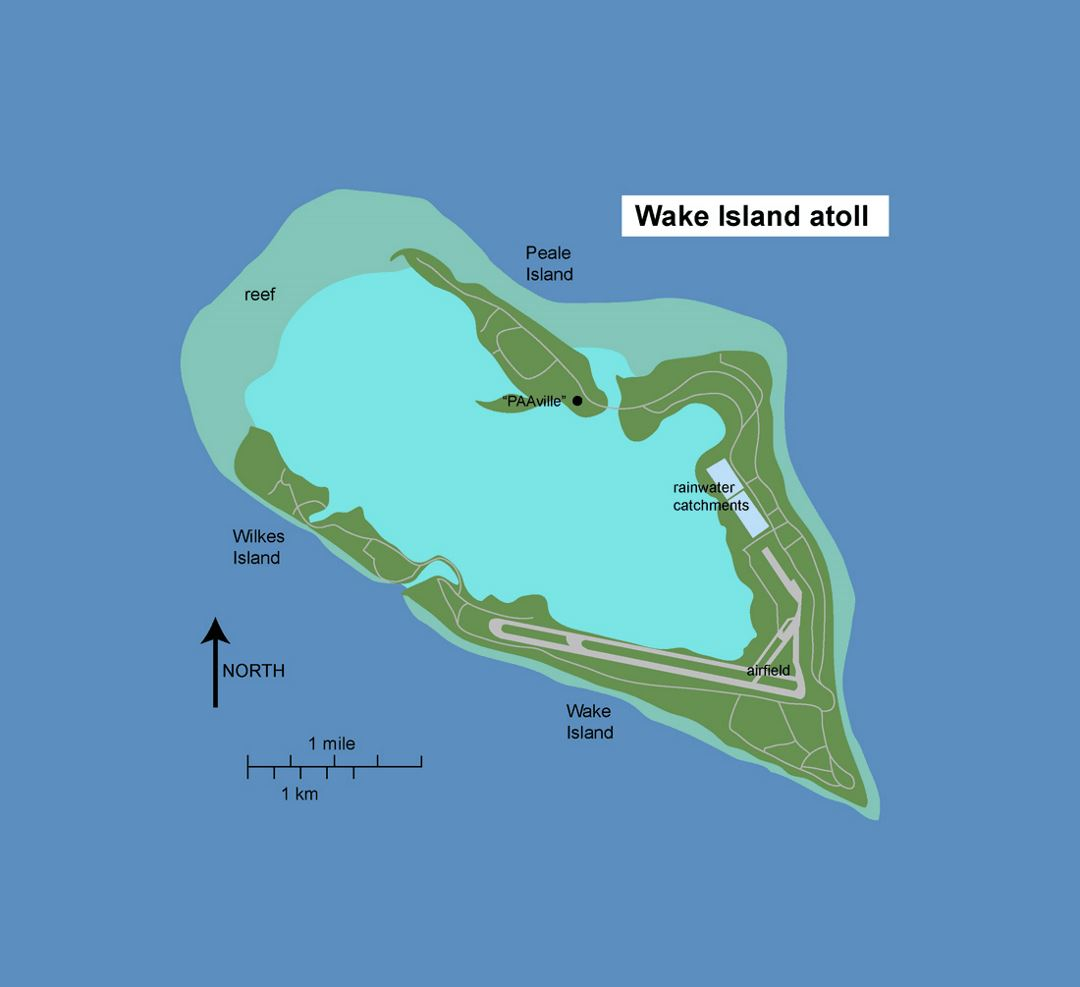 Detailed Wake Island map with roads