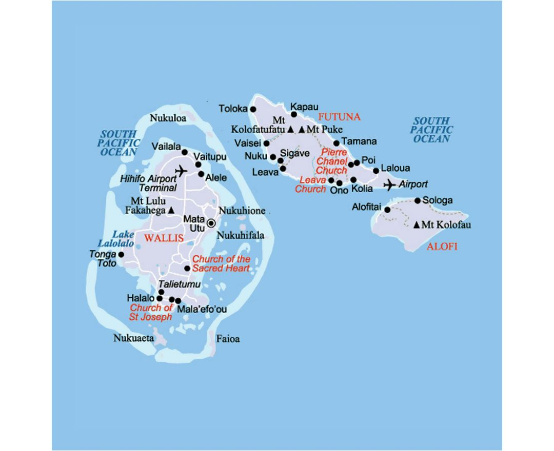 Detailed map of Wallis and Futuna with roads, cities and airports