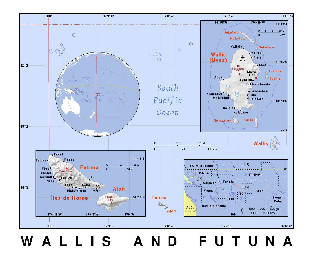 Detailed political map of Wallis and Futuna with relief